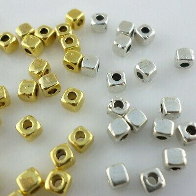 120//360pcs Tibetan Goid//Silver Small Square Cube Spacer Beads for Jewelry 3mm