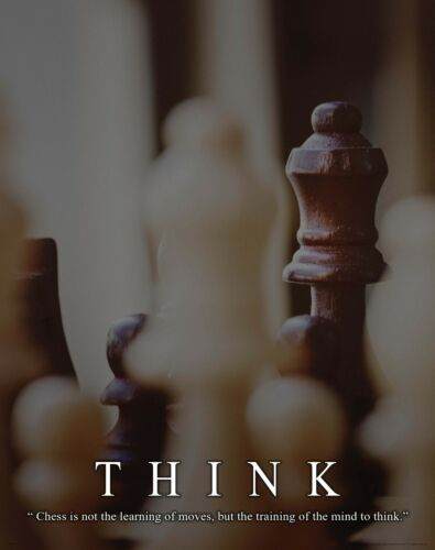 Chess Motivational Poster Art Print 11x14 Wooden Pieces Board Books Game MVP559