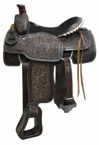 Western Two Tone Leather Hand Carved Roper  Ranch Saddle 17  with Strings  novelty items