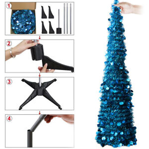 4FT Tall Christmas Tinsel Sequins Tree with Stand Indoor Outdoor Decor 5