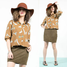 WOMENS VINTAGE 70'S TAN BROWN ABSTRACT PATTERN OPEN COLLARED SHIRT BLOUSE MOD 14