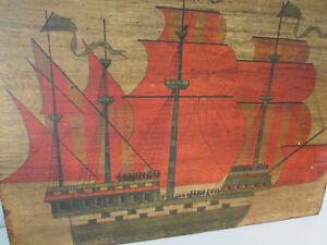 "Vtg Folk Art Clipper Boat Ship Vessel Nautical Wood Art Wall Hanging 17.5""x21.5"""
