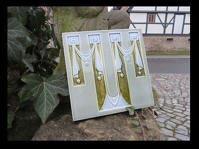 No 1 / Jugendstil / Relief Wand Fliese Um 1910 / Top & Rar / Klares Design 100% Garantie