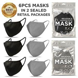 6-PCS-Face-Masks-BLACK-amp-GRAY-Masks-Washable-Reusable-Unisex-Mask-US-SELLER