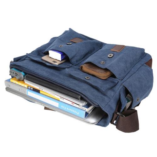 Vintage Canvas Leather Military Men/'s 14/'/' Laptop Messenger Shoulder Bag Satchel