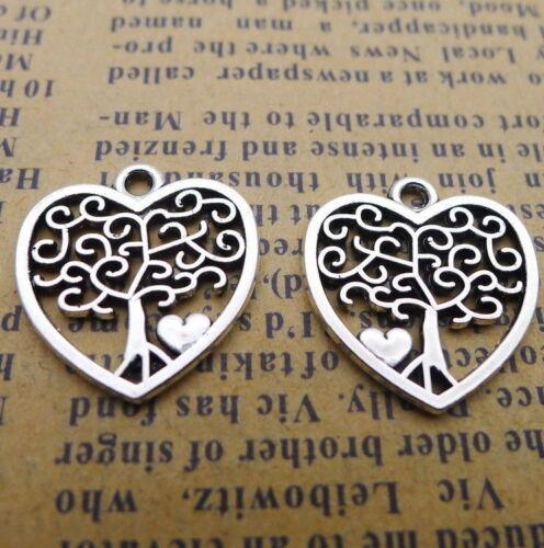 20pcs DIY Hollow Heart Charms Trees Tibetan Beads Pendant 17x18mm Silver Colour