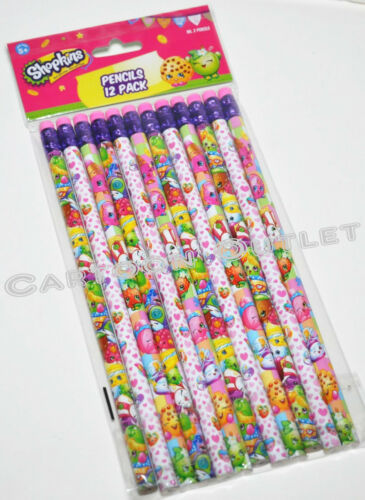 12 X SHOPKINS PENCILS w//erasers FOR PARTY CANDY BAGS GIFTS FAVORS STOCKING STUFF