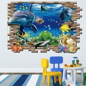 3D-Wandtattoo-Wandsticker-Kinder-Wandbilder-Aquarium-Wandaufkle-Meerestiere-X1J7