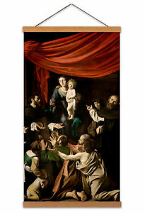 Michelangelo-Merisi-Called-Caravaggio-Madonna-Rosary-Canvas-Wall-Art-Print