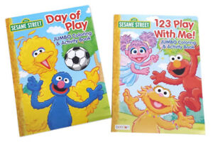 Details About New Set Of 2 Sesame Street Elmo Zoe Kids Coloring Book And Activity Books Set