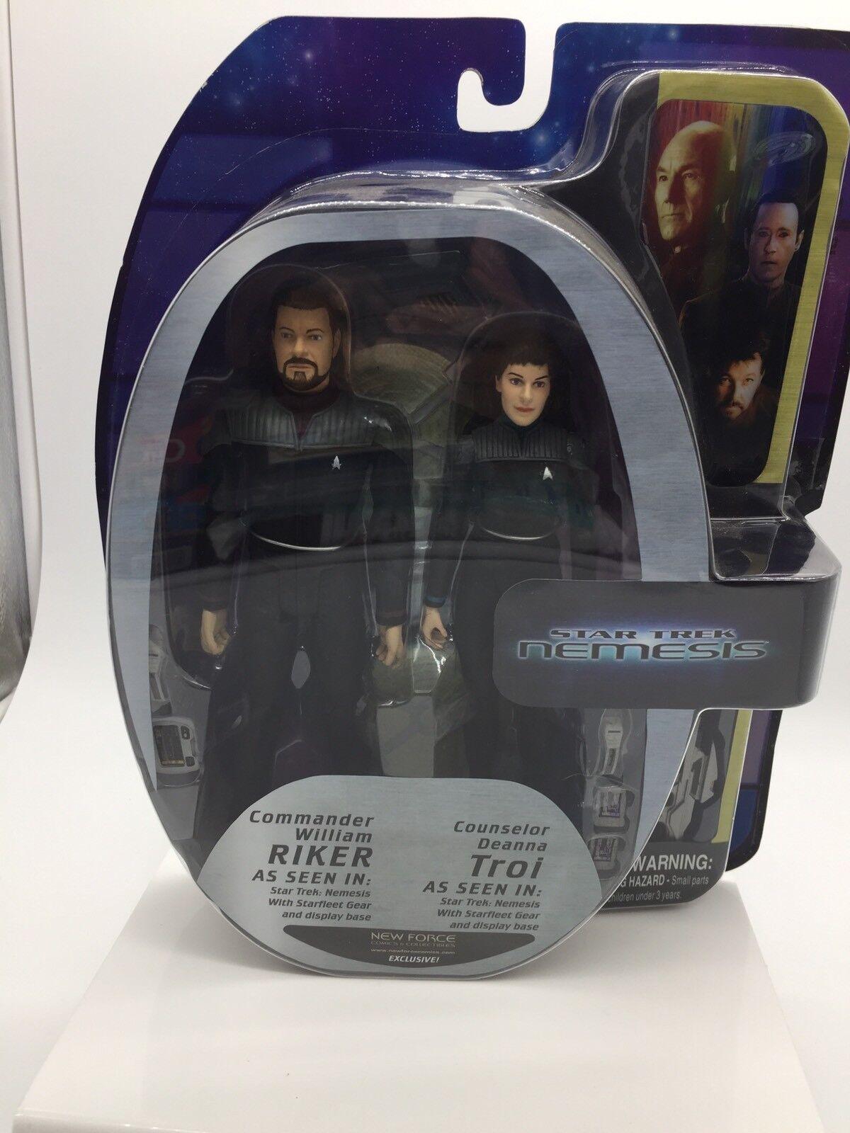 Estrella Trek Nemesis NF exclusivo William Riker & Deanna Troi Figuras De Acción