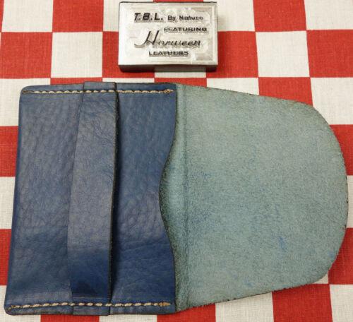 Horween Tropical Blue Essex Leather One Pocket Flap Card Holder Wallet