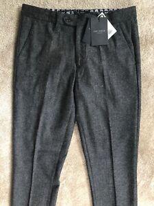 Ted-Baker-grau-034-jontro-034-Mini-Design-Slim-Fit-Wolle-Hose-Pants-30r-NEU