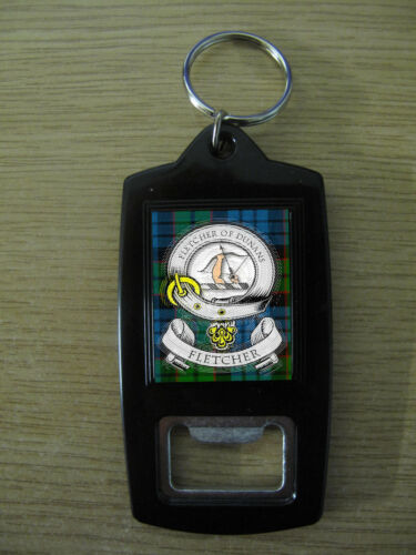 FLETCHER CLAN BOTTLE OPENER KEY RING IMAGE DISTORTED TO PREVENT WEB THEFT