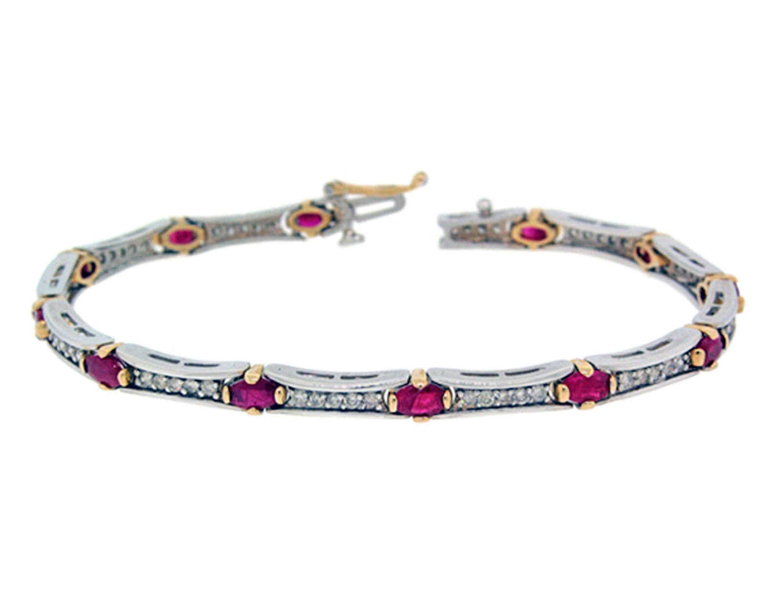 5062936bc4820 ROUND RUBY& Oval 3.60ct BRACELET DIAMOND gold Two-Toned in14K ...