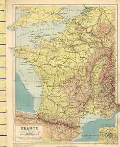 1889 MAP ~ FRANCE ~ PHYSICAL BRITTANY GUIENNE CHAMPAGNE ENVIRONS OF ...