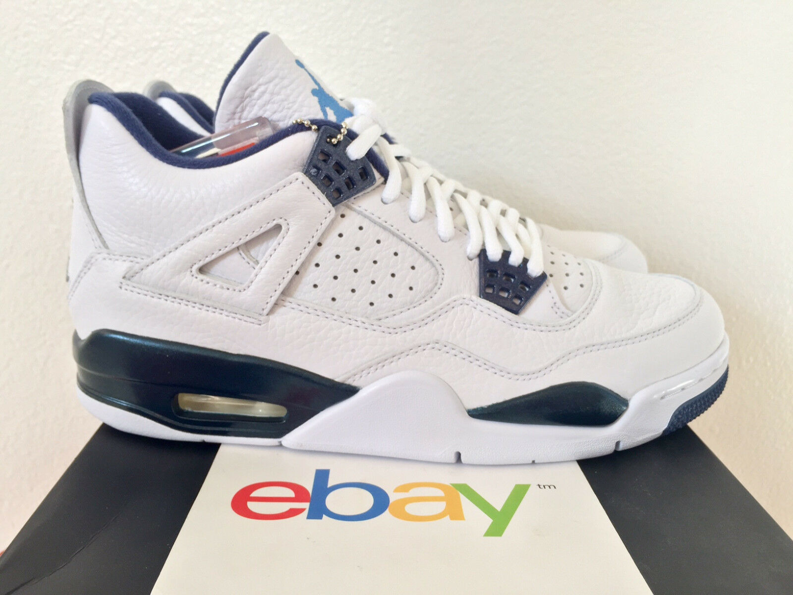 182264956747f7 delicate 2015 DS Air Jordan 4 Retro iv LEGEND BLUE Sizes 8.5-13 columbia  white