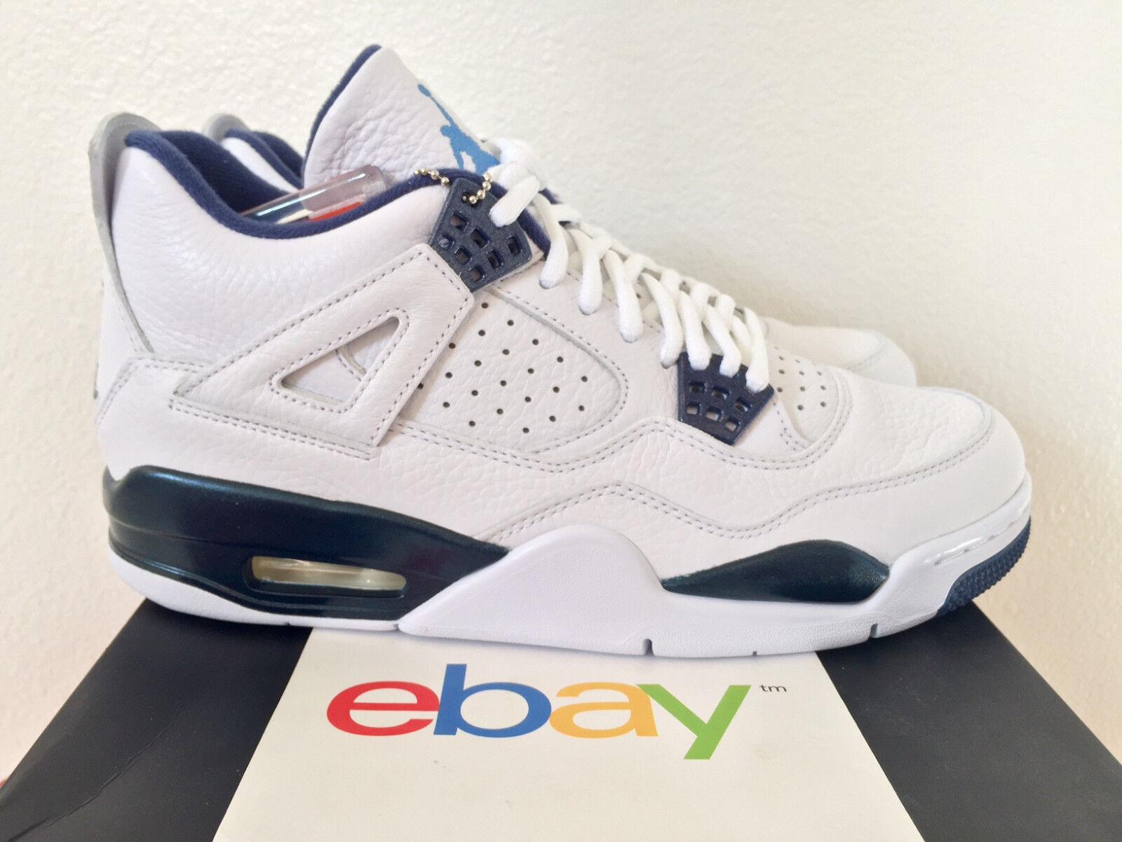 2018 DS Air Jordan 4 Retro iv LEGEND BLUE Sizes 8.5-13 columbia white 314254 107