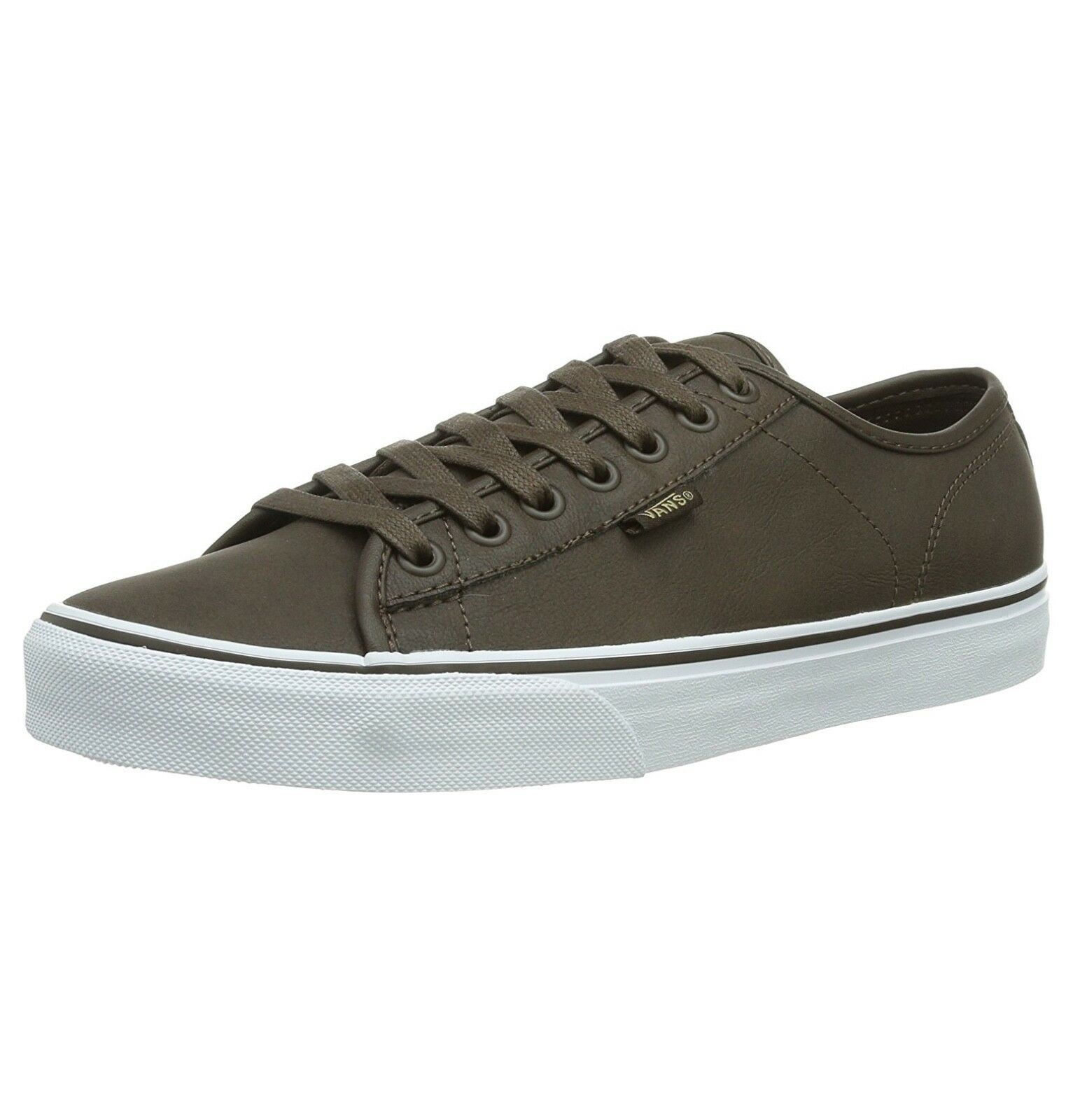 VANS Mens Ferris Low Leather Buck Skater Shoes Plimsolls Brown White Trainers