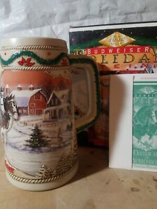 Brand NEW 1996 Budweiser Holiday Collector Beer Stein