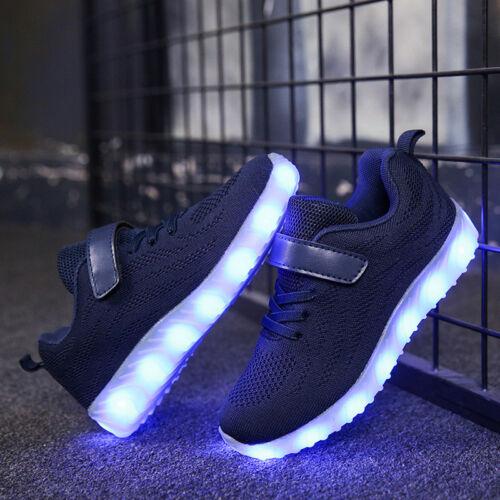Kinder Jungen Mädchen Turnschuhe Blinkende LED Leuchtend Lichter USB Sneaker