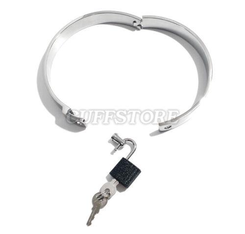 "17/"" Bondage Neck Collar Restraint Locking Stainless Steel BDSM Choker w// Padlock"