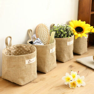 Zakka-Style-Storage-Box-Jute-with-Cotton-Mini-Basket-Desktop-Hanging-Bag