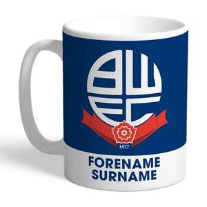 Bien Bolton Wanderers F.c - Personalised Ceramic Mug (bold Crest) 100% D'Origine