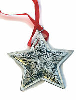 Polished Silver Tin-etched & Antiqued Star Christmas Ornament By Culturas