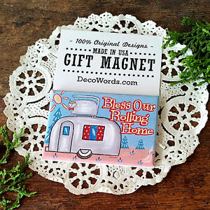 DECO-MAGNET-2-034-x3-034-BLESS-OUR-ROLLING-HOME-Fridge-Magnet-airstream-trailer-USA