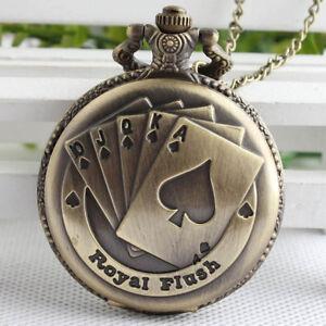 Antique-Bronze-Poker-Card-Pocket-Watch-Quartz-Necklace-Chain-Pendant-Gift-Retro