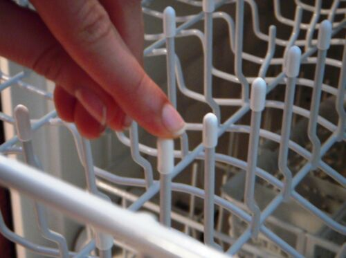 50 Universal White Dishwasher Rack Tip Tine Cover Caps   Just Push On to Repair