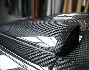 12-034-x60-034-5D-Ultra-Brillant-Gloss-Noir-brillant-Fibre-De-Carbone-Vinyle-Wrap-Autocollant