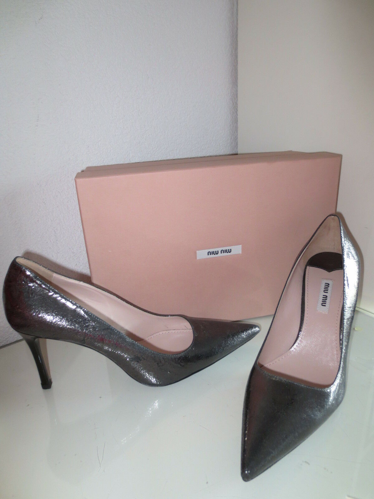 MIU Pumps MIU by PRADA Damen Pumps MIU Gr.40,5 CRACLE Schuhe High Heels Leder neu 78b12e