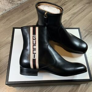 Gucci Striped Leather Ankle Boots Black