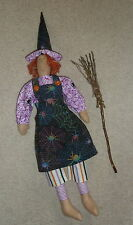 "Handmade Tilda style 24"" cloth DOLL Autumn Good Witch Web Broom Decoration Gift"