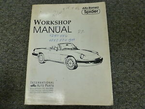 Alfa Romeo Spider Convertible Service - Alfa romeo spider workshop manual