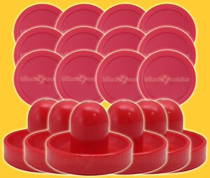"6 Air Hockey Pushers-Red/Gr<wbr/>een Felt & 12 Pucks 2-1/2"" Round Red - Table Hockey"