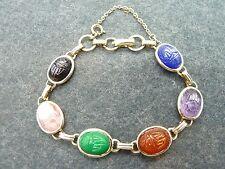 "Vintage CORO Goldtone CARVED SCARAB Bracelet 7-1/2""   ~9.5g~"