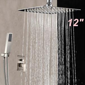 Nickel Brushed 12 Ceiling Mounted Rain Shower Head Valve