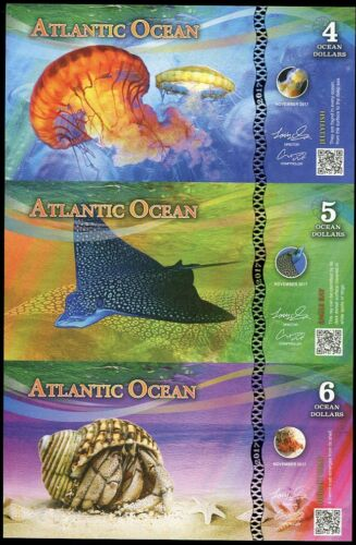 ATLANTIC OCEAN UNCUT SHEET 3; 4 5 6 DOLLARS JELLYFISH EAGLE RAY HERMIT CRAB 2017