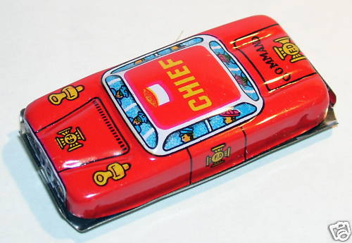 LUCKY TOY JAPAN JOUET TOLE FIRE CHIEF POMPIERS HO 1960