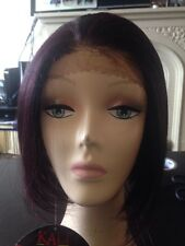 Wig Lace Front Synthetic Short  Bob 99J Red Plum Burgundy Black Streaks