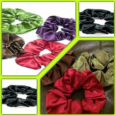 SATIN HAIR SCRUNCHIES FOR PONYTAIL RED PURPLE BLACK OLIVE BROWN