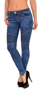 Damen Biker Jeans Hose Skinny Jeanshose Stretch Hüftjeans Skinny Biker Look J277