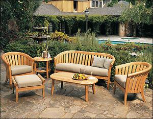 Lenong A-Grade Teak Wood 6 pc Outdoor Garden Patio Sofa Lounge Chair ...