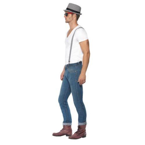 Bretelle Nero Bianco Check Costume SKA 80 S follia Musica Celebrità Kit Cappello