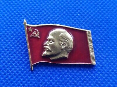 Soviet Russian LENIN Portrait /& Red Flag Communist Pin Badge ORIGINAL USSR issue