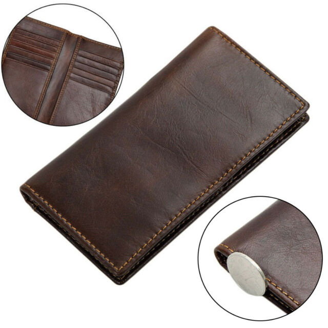 Mens Genuine Leather Vintage Bifold Chain Checkbook Card Holder Long Wallet New
