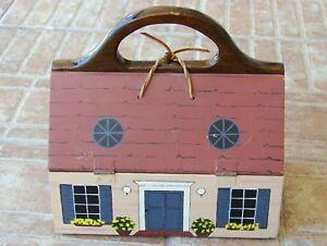 Wooden-House-Dollhouse-Home-Handmade-Painted-Purse-Handbag